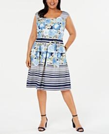 R & M Richards Plus Size Mixed-Print Fit & Flare Dress