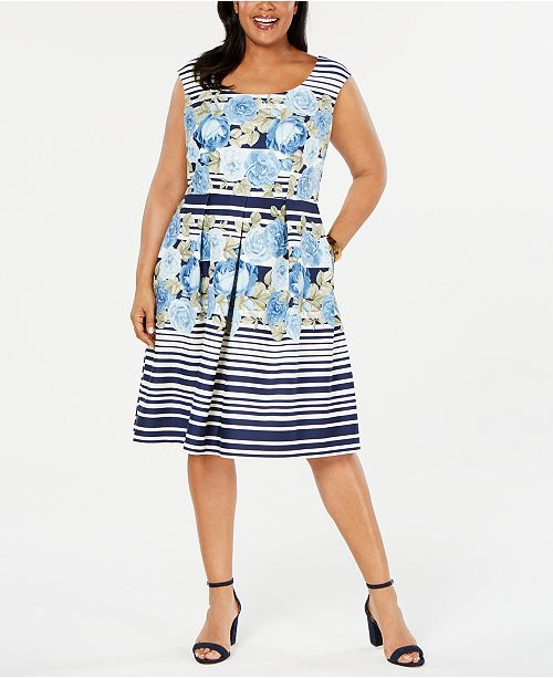 R & M Richards Plus Size Mixed-Print Fit & Flare Dress