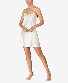 Flower-Lace Trim Chemise Nightgown