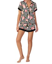 a2a8f03c8466 Betsey Johnson Satin-Detail Notch Collar Top and Pajama Shorts Set