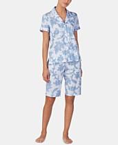 0af45c462 Lauren Ralph Lauren Printed Knit Cotton Notch Collar Top and Bermuda Shorts  Pajama Set