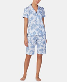 Lauren Ralph Lauren Printed Knit Cotton Notch Collar Top and Bermuda Shorts Pajama Set