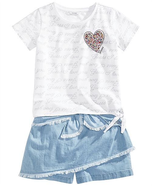 GUESS Big Girls Denim Skort & Printed T-Shirt