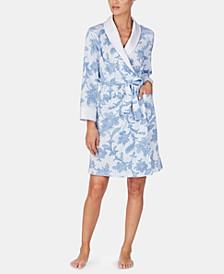 Flower-Printed Long Sleeve Robe