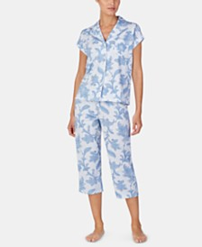Lauren Ralph Lauren Knit Cotton Notch Collar Top and Capri Pajama Pants Set
