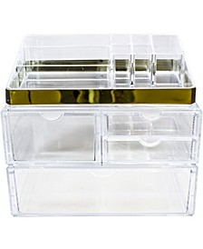 Cosmetics Makeup and Jewelry Storage Case Display Sets With Trim