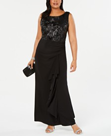 Betsy & Adam Plus Size Sequined Draped Gown