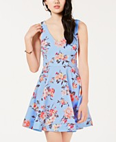 3daa4899bbbe B Darlin Juniors  Floral-Print Fit   Flare Dress