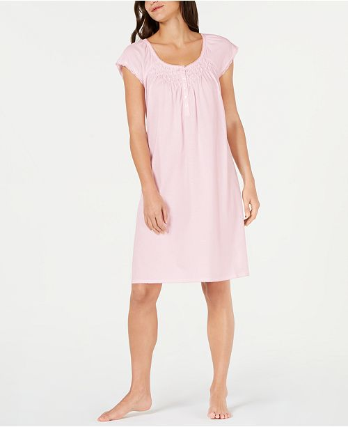 Miss Elaine Lace Trim Knit Nightgown