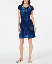 83a90f6164 MICHAEL Michael Kors Cutout-Neck Printed Fit   Flare Dress