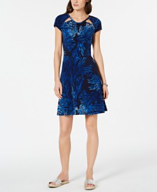 MICHAEL Michael Kors Cutout-Neck Printed Fit & Flare Dress, Regular & Petite