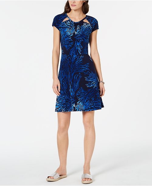 Michael Kors Cutout-Neck Printed Fit & Flare Dress, Regular & Petite