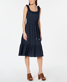 MICHAEL Michael Kors Flounce-Hem Sleeveless Midi Dress