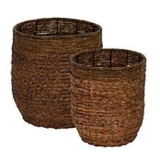Rimmed Blended-Weave Wicker Baskets, Set of 2