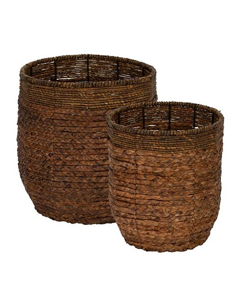 Household Essentials Rimmed Blended-Weave Wicker Baskets, Set of 2