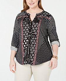 Style & Co Plus Size Printed Ladder-Trim Blouse, Created for Macy's