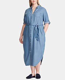 Lauren Ralph Lauren Plus Size Denim Shirtdress