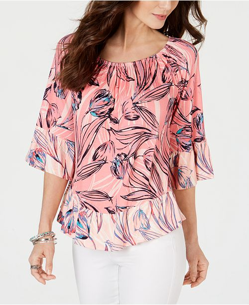 Style & Co Petite Convertible Printed Top, Created for Macy's