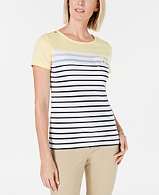 Carmen Striped Button-Trim Top, Created for Macy's