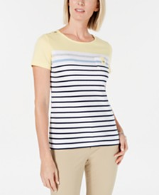 Karen Scott Carmen Striped Button-Trim Top, Created for Macy's