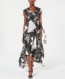 High-Low Faux-Wrap Maxi Dress