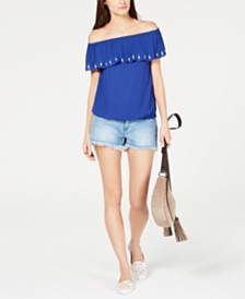 MICHAEL Michael Kors Off-The-Shoulder Ruffle Top & Frayed Denim Shorts