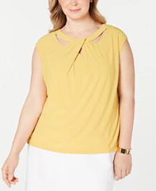 Kasper Plus Size Crisscross Stretch Top