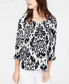 INC Blouson-Sleeve Peasant Top, Created for Macy's