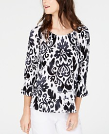 I.N.C. Petite  Blouson-Sleeve Peasant Top, Created for Macy's