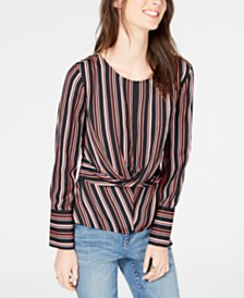 I.N.C. Petite Striped Twist-Front Top, Created for Macy's