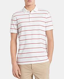 Men's Slim-Fit Double Micro-Bar Stripe Liquid Touch Polo Shirt