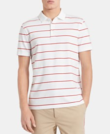 Calvin Klein Men's Slim-Fit Double Micro-Bar Stripe Liquid Touch Polo Shirt