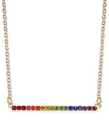"I.N.C. Gold-Tone Crystal Rainbow Horizontal Bar Pendant Necklace, 16"" + 3"" extender, Created for Macy's"