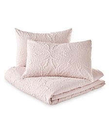 Microsculpt Medallion Twin Duvet Set Blush