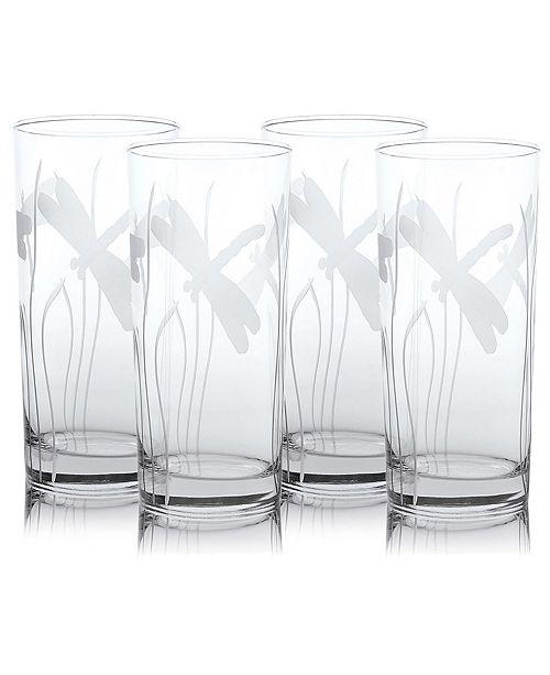 Rolf Glass Dragonfly Cooler Highball 15Oz - Set Of 4 Glasses