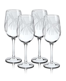 Dragonfly White Wine Glass 12Oz - Set Of 4 Glasses