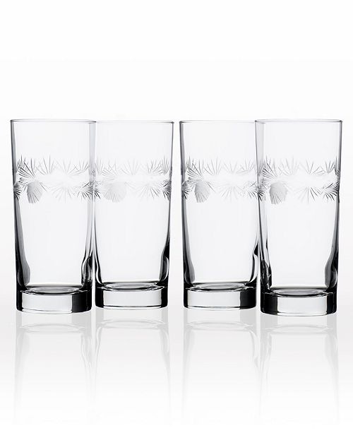 Rolf Glass Icy Pine Cooler Highball 15Oz - Set Of 4 Glasses