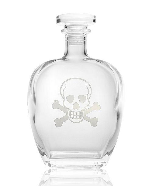 Rolf Glass Skull and Cross Bones Decanter 23Oz