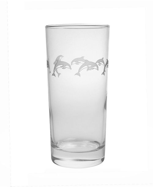 Rolf Glass School Of Dolphin Cooler Highball 15Oz - Set Of 4 Glasses