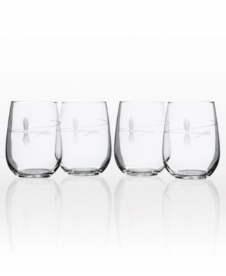 Fly Fishing Stemless 17Oz - Set Of 4 Glasses