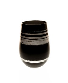 Rolf Glass Cosmo Black And Silver 16.5Oz Stemless Wine Tumbler - Set Of 4