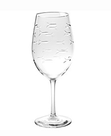 School Of Fish All Purpose Wine Glass 18Oz - Set Of 4 Glasses