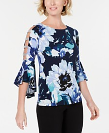 MSK Printed Embellished Bell-Sleeve Top