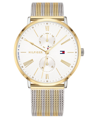 Tommy Hilfiger Women's Two-Tone Stainless Steel Mesh Bracelet Watch 38mm Created for Macy's
