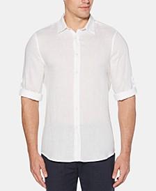 Men's Roll Tab Long Sleeve Solid Linen Shirt