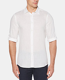 Perry Ellis Men's Roll Tab Long Sleeve Solid Linen Shirt