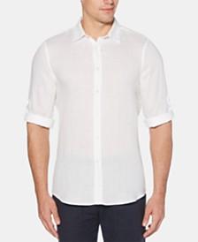 Perry Ellis Men's Roll Tab Long Sleeve Solid Linen Shirt