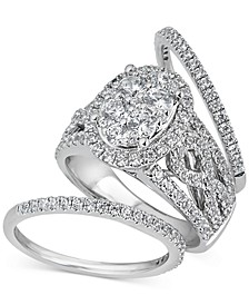 Diamond Halo 3-Piece Bridal Set (2 ct. t.w.) in 14k White Gold