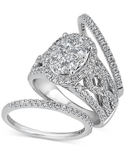 Diamond Halo 3 Piece Bridal Set 2 Ct T W In 14k White Gold