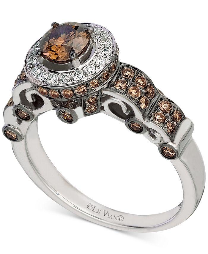 Le Vian - Chocolate Diamond (1-1/0 ct. t.w.) & Vanilla Diamond (1/8 ct. t.w.) Halo Ring in 14k White Gold